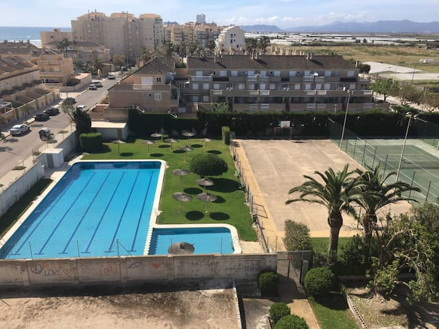Our facilities! Swimming pool for adults and children 2 tennis courses Football and basketball area One of the Parking areas