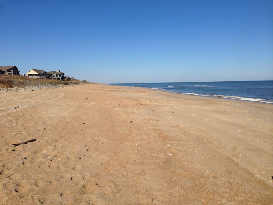 It takes less than 5 minutes to walk to our neighborhood's wide beach