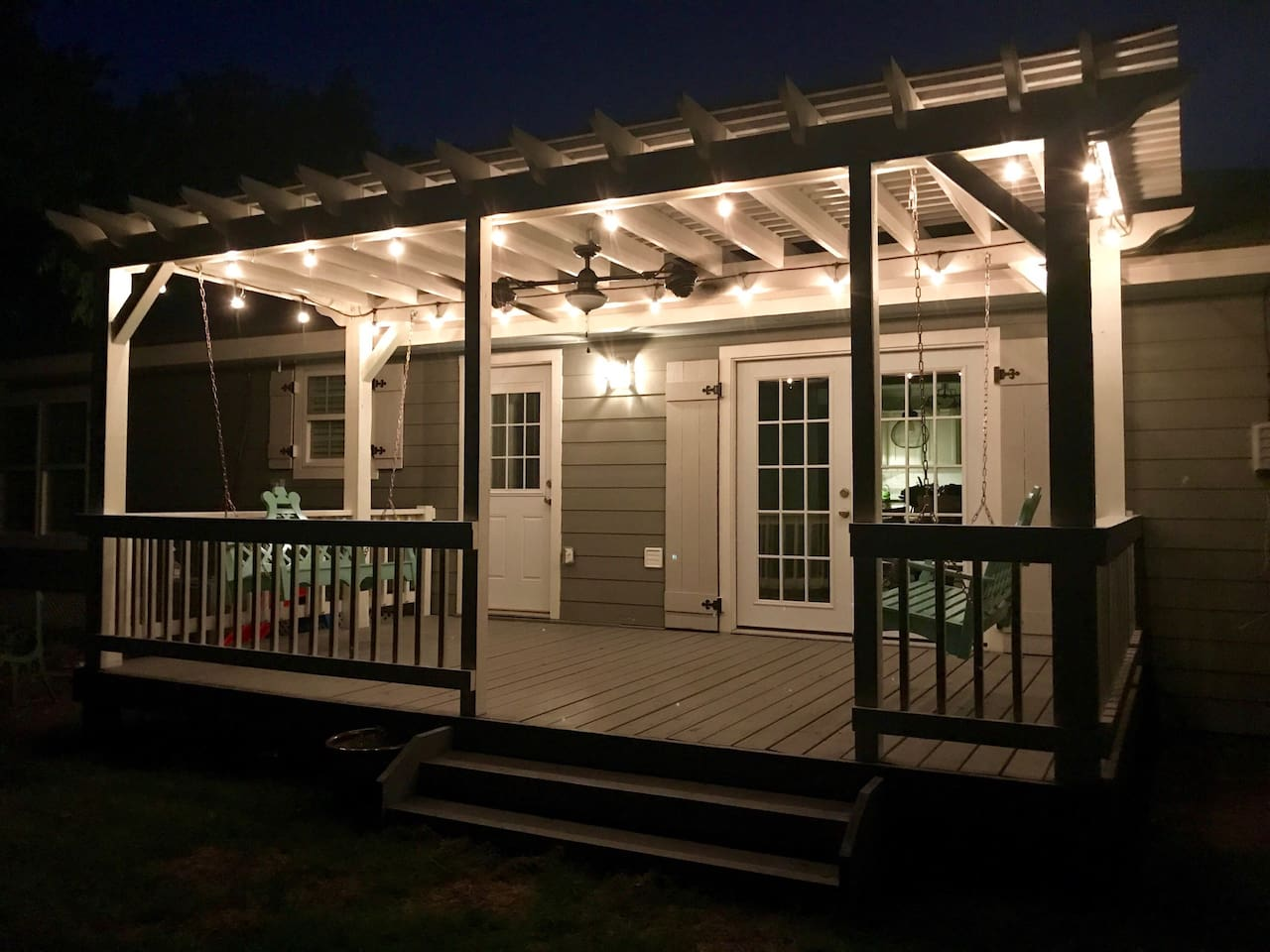 Backyard pergola and porch