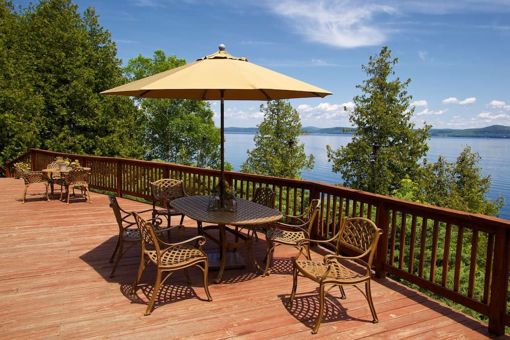 Enjoy breakfast on the back porch overlooking beautiful Lake Champlain