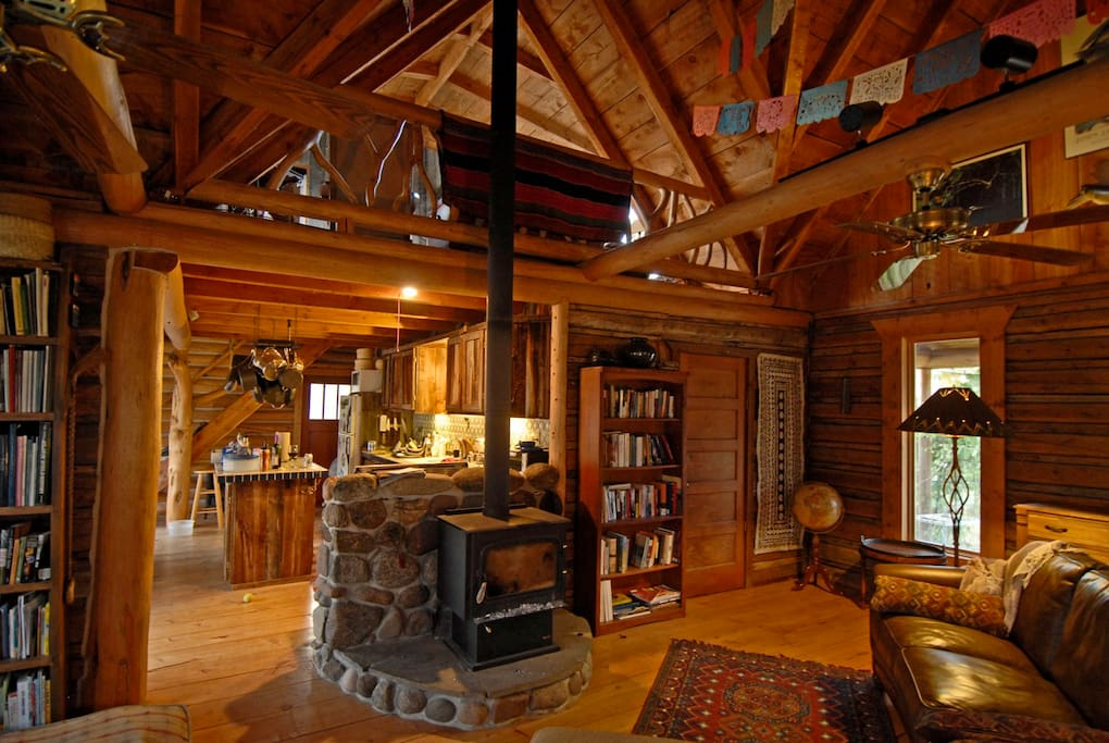 Living area with wood burning stove to keep warm