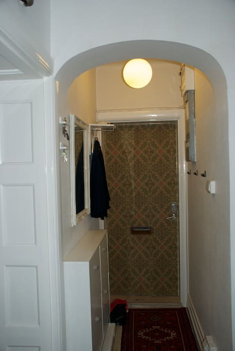 The hallway with a designed wallpapered door.
