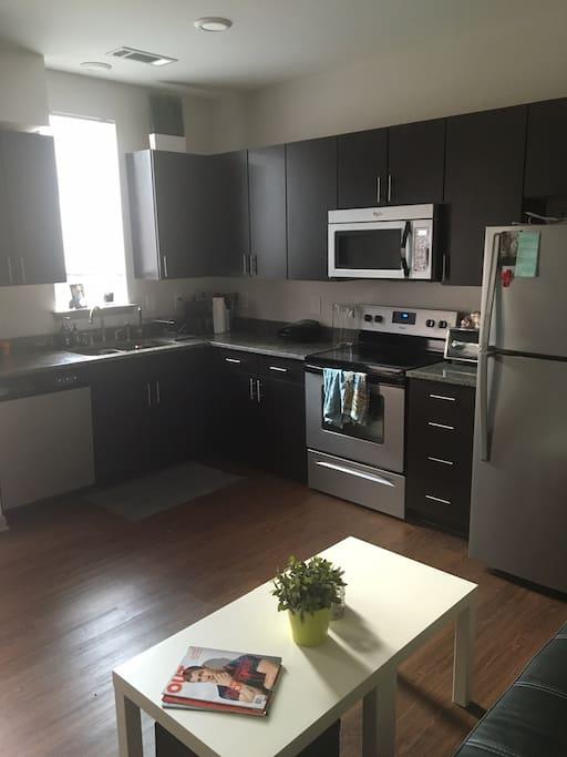 Full kitchen.  Full use of fridge, oven, stove, microwave and dishwasher.