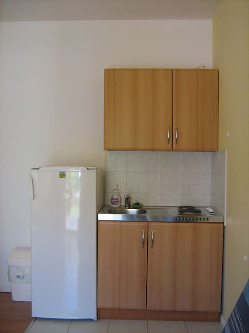 Fully contained kitchen with toaster, kettle, coffee machine, dishes, utensils. Medium sized fridge with freezer compartment. LCD TV.