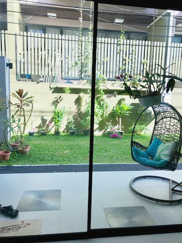 Green patio with relax chair