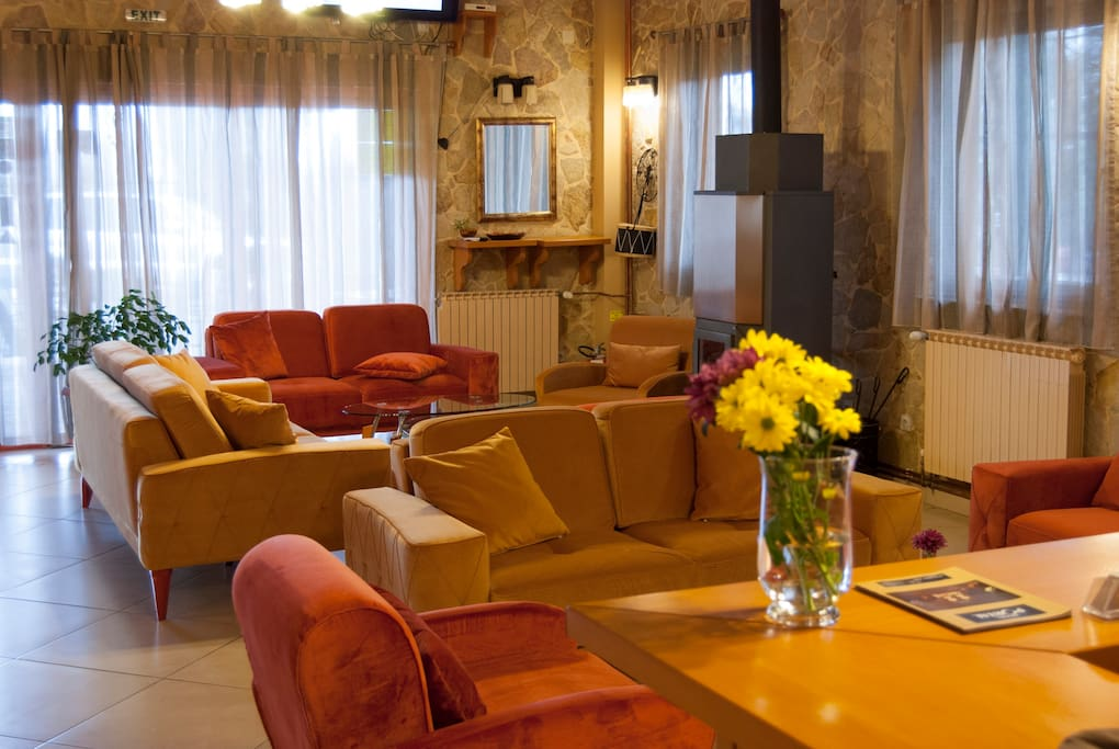 Cozy, sunny lobby ideal for a morning coffee or breakfast (breakfast +5 EUR per person)