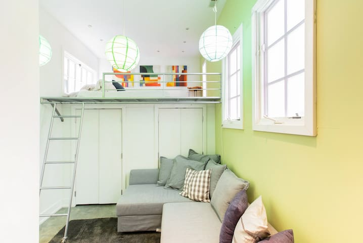 """""""Loft Room"""" Up the ships ladder a double bed, cozy and with great lighting. The closet below is huge."""