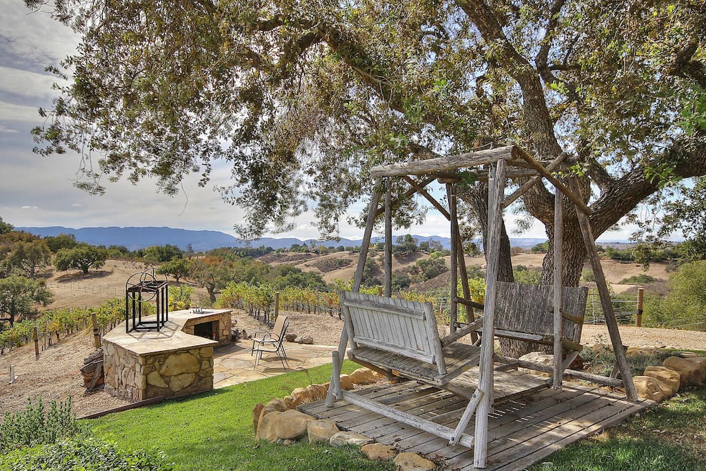 Sip your favorite wine overlooking vineyard and BBQ pit