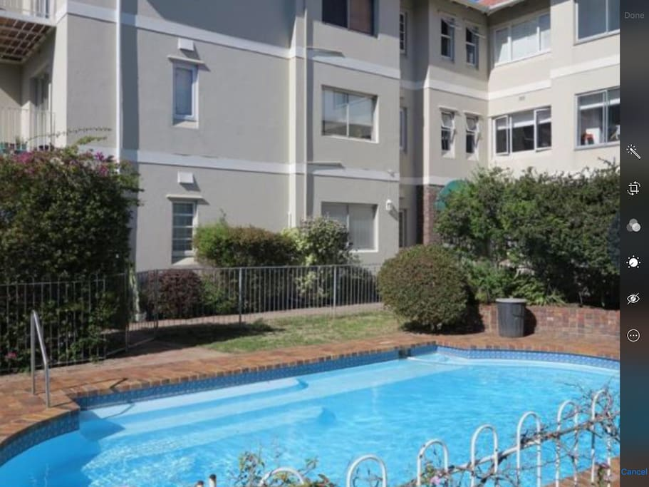 Sparkling swimming pool for residents use