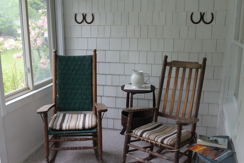 On the screened porch