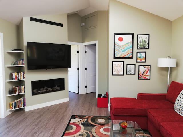 Fireplace & large TV