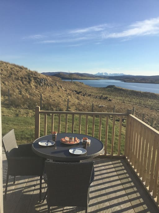 Lunch on the decking with Cuillin view