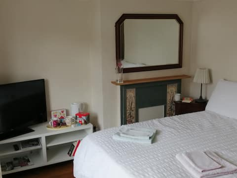Self cont ground floor room with ensuite, free pk!