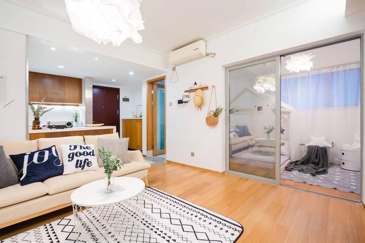 Room4双地铁乘换站家庭影院唯美清新公寓