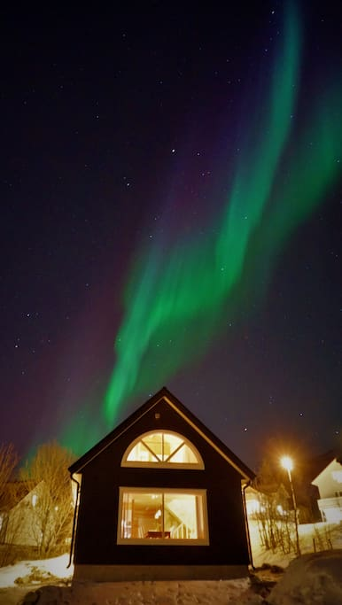 Northern Lights over the cabin. January.