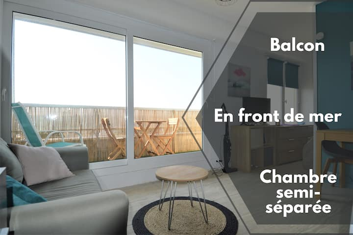 Studio with bedroom ☀ Balcony and 20m from the sea