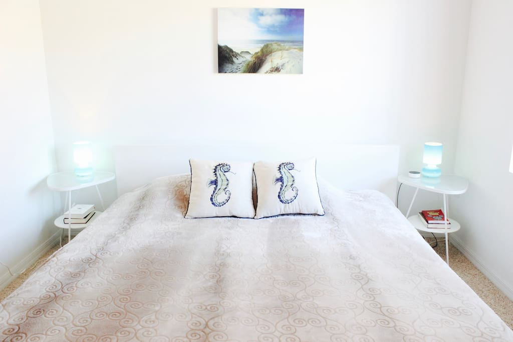 The bedroom has a queen bed and plenty of natural light.