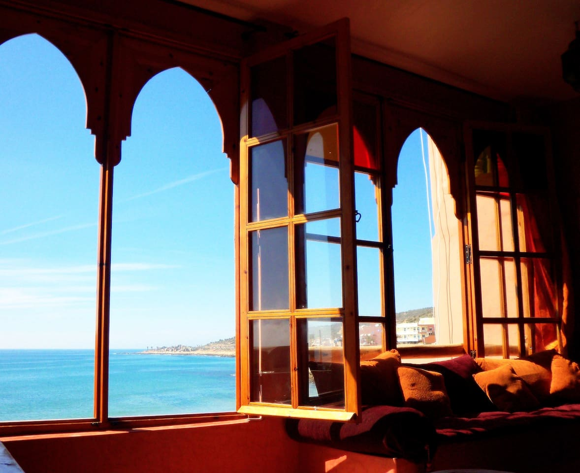 Full Ocean Views through the hand made wooden window frames with Iraqi colored glass. Plenty of surf spots to view..