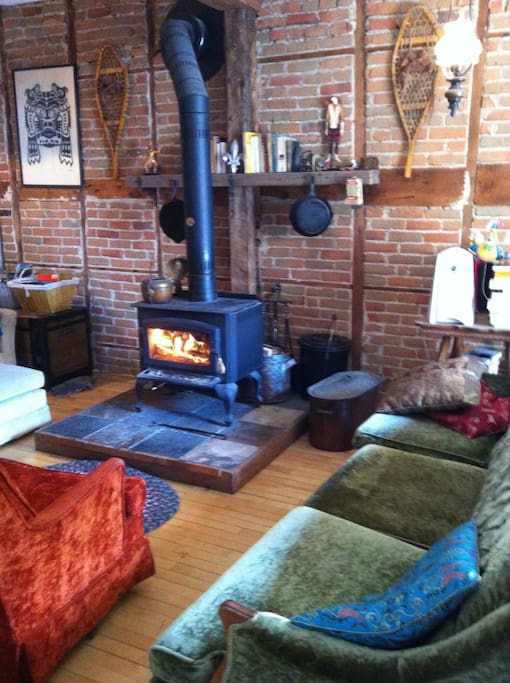 The woodstove in the living room