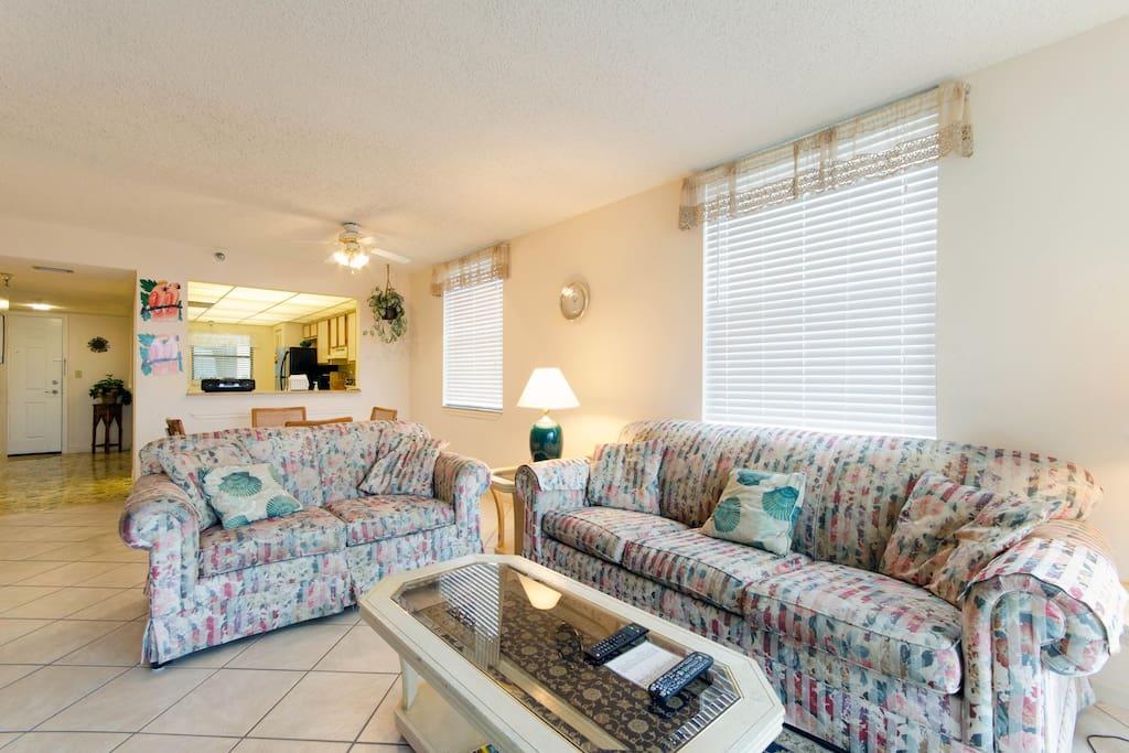 Spacious Living Room abuts balcony