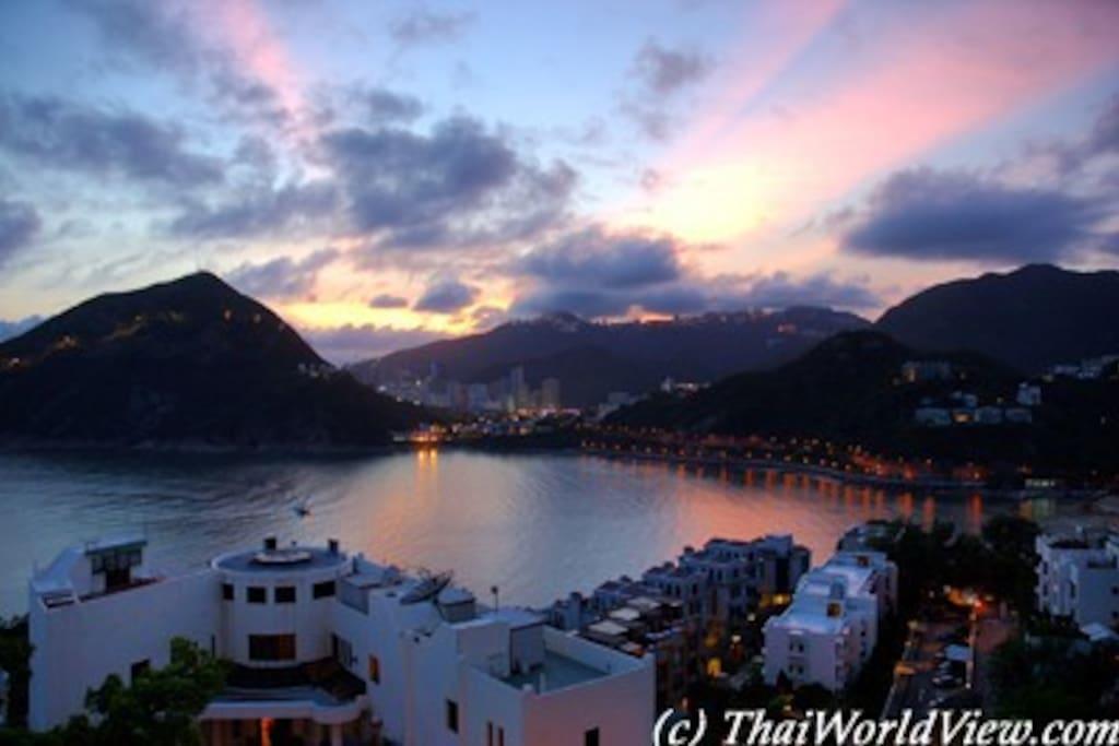 Sunset & twilight over Deep Water Bay