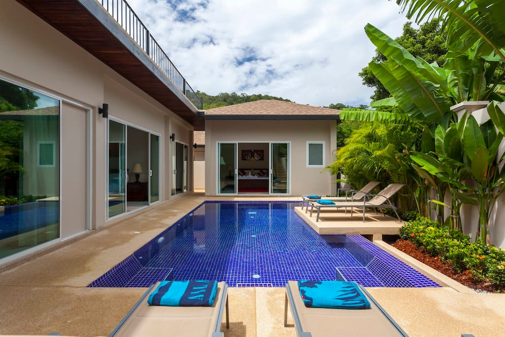The 8 x 4 metre private swimming pool, with feature sun deck
