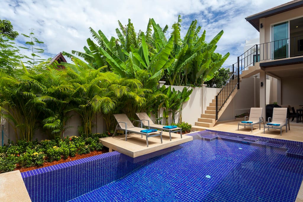 Private swimming pool with feature sun deck and integral jacuzzi