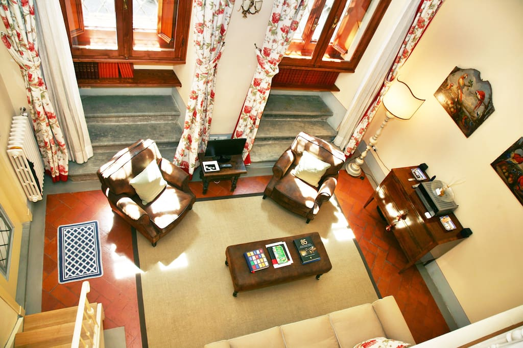 View of the Living Room from the Bedroom's Loft.