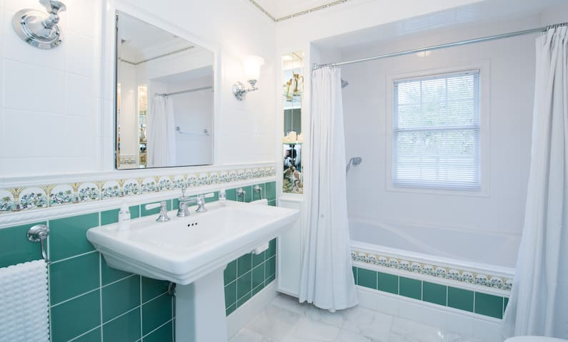 Garden tub with imported English tile