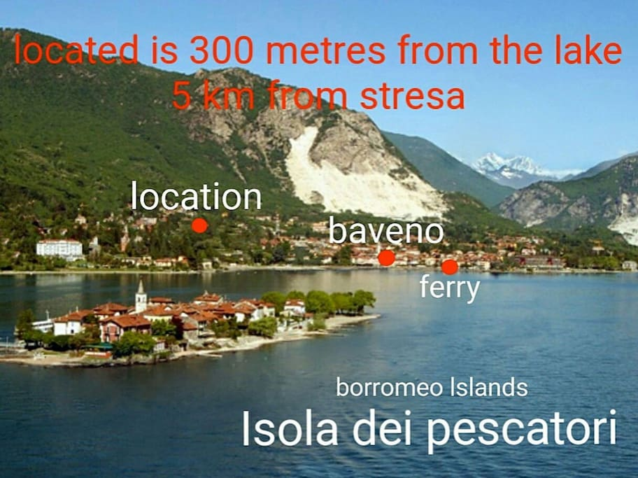 the location is 300 metres from the lake a short walk from ferry and easy for you to visit borromeo lslands