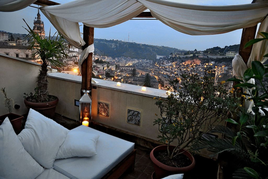 panoramic terrace overlooking the historic center of Modica