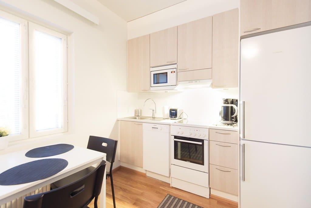 Kitchen + dining area.