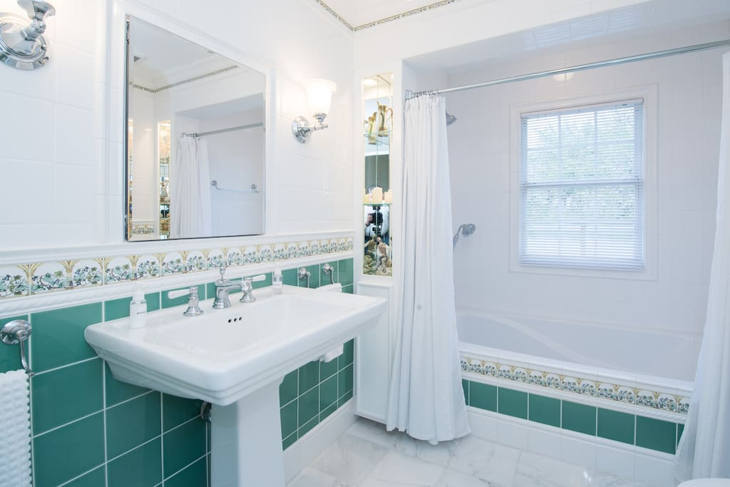 Garden tub and imported English tile
