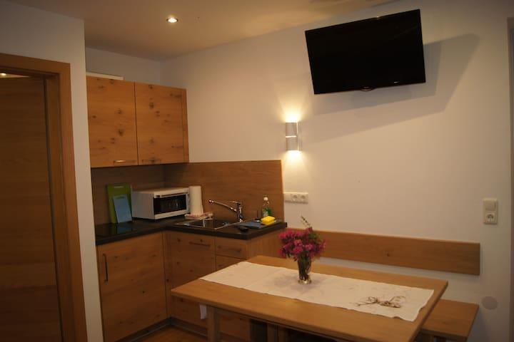 Küchenecke mit Herdplatte, Spüle, Kühlschrank, Mikrowelle/Minibackofen, Tisch, Fernseher