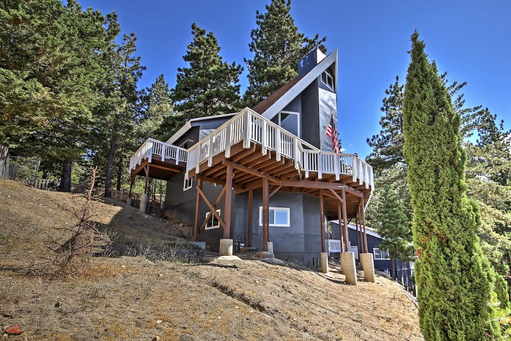 The cabin boasts 2,000 square feet of living space and mountain views from the expansive back deck.