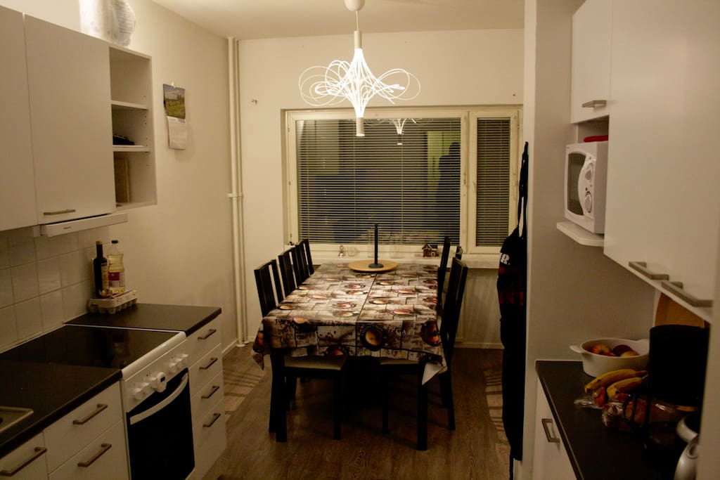 Kitchen. It's all you need. Table for 6, even 8, people. Oven, microwave oven, toaster, coffee maker, fridge, freezer etc.