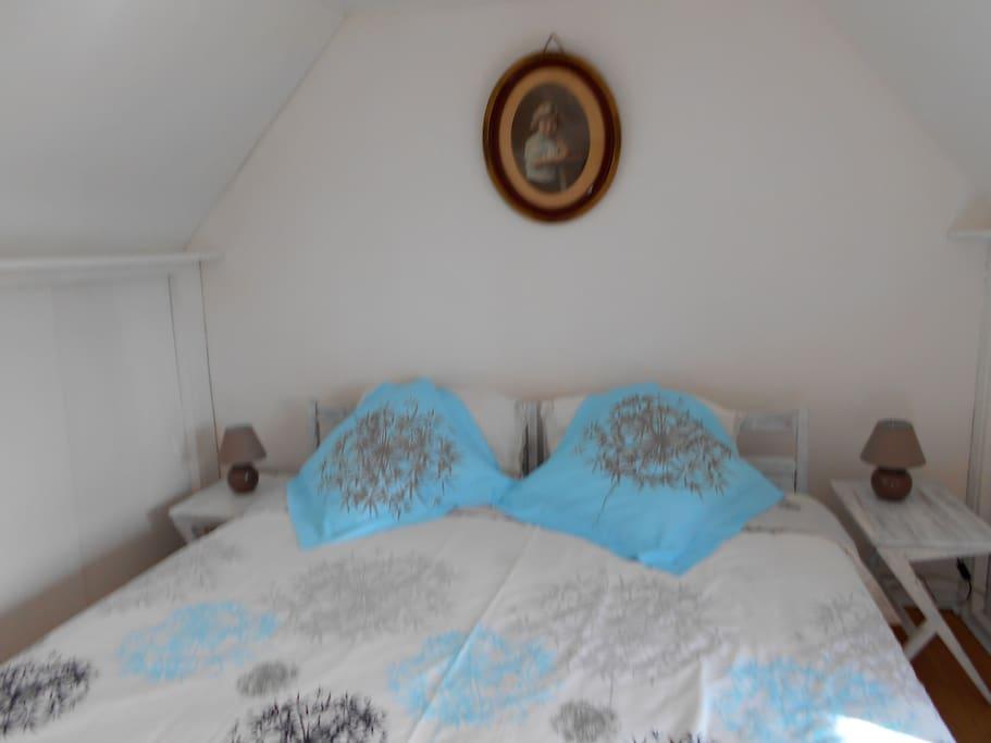 belle chambre très claire - grand lit de 180 ou 2 lits simples au choix