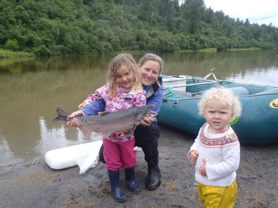 The Fish girls catching dinner just a few miles from the cabin
