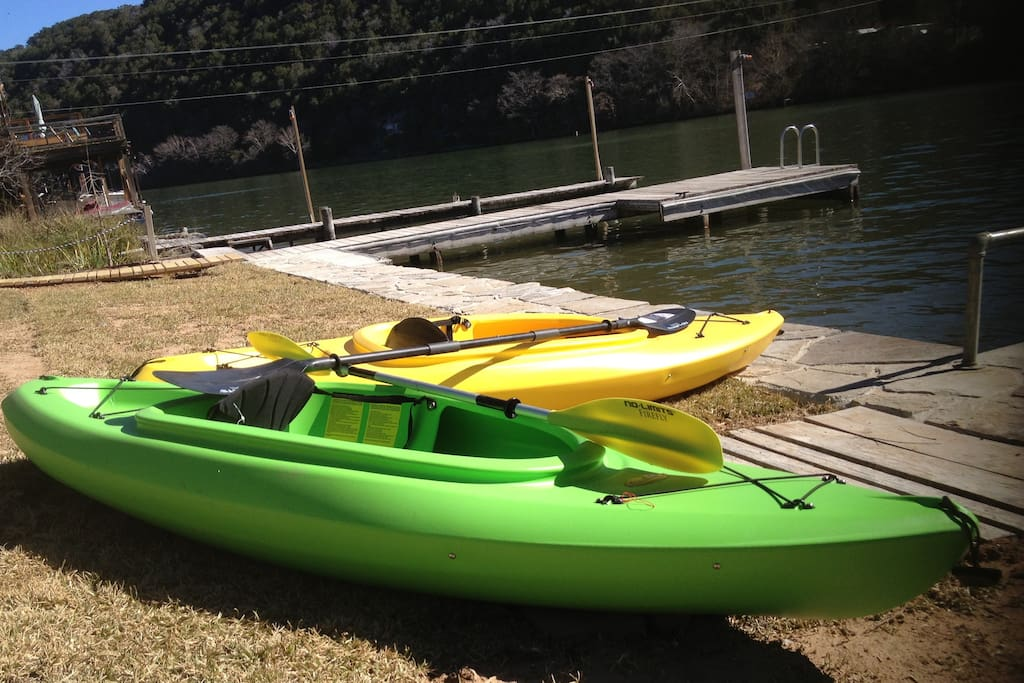 We have 2 singles and 1 double kayak for you to play with!