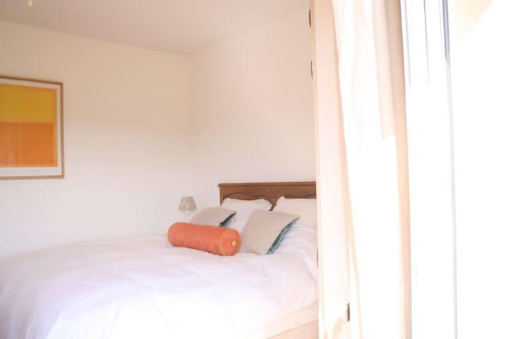 Air-conditioned Double Bedroom 2 with Kingsize bed from upper terrace