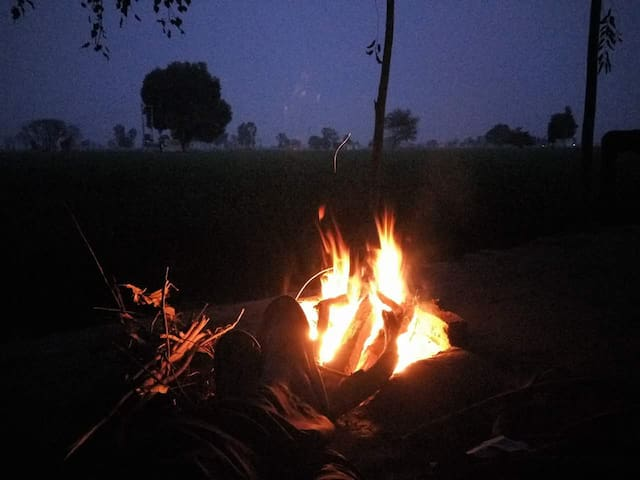 Bonefire in th evening with a couple of beers