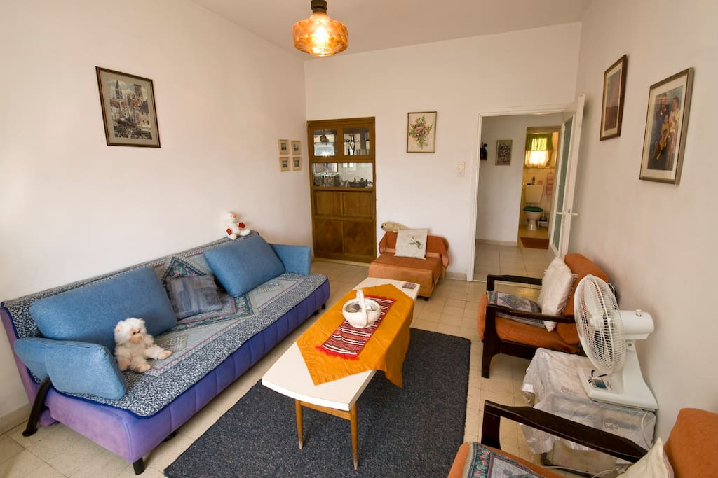 a large room with double soffa beds and a folding couch too