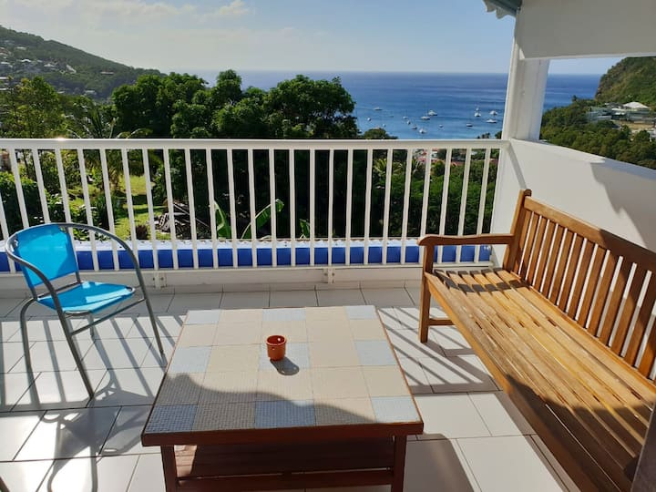 Apartment with 3 bedrooms in Deshaies, with wonderful sea view, terrace and WiFi - 1 km from the beach