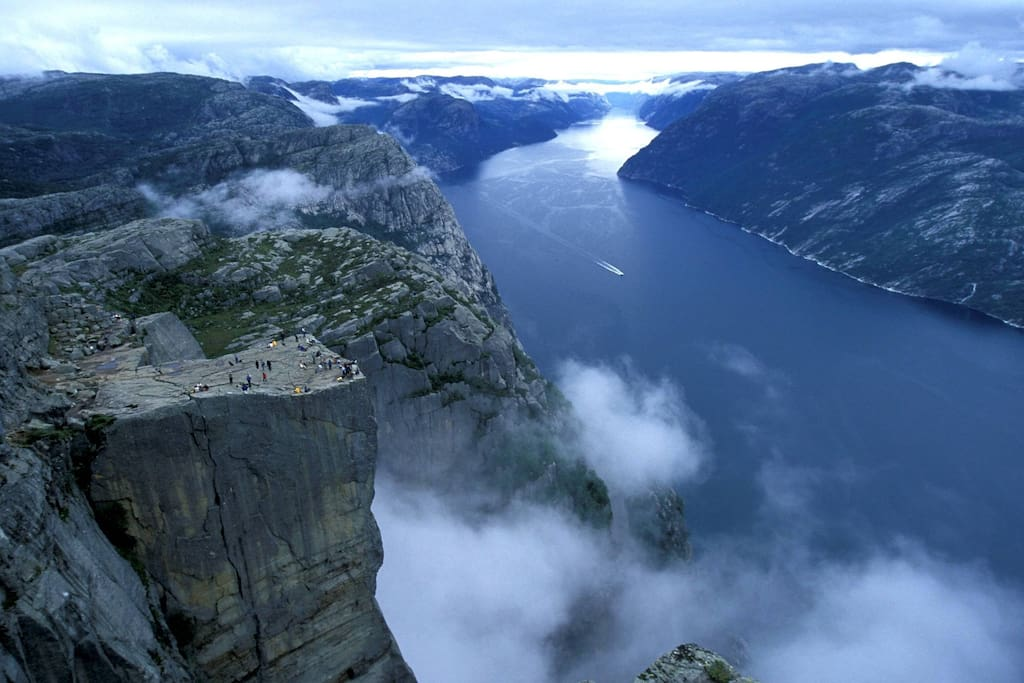 The Pulpit Rock, hanging 1800 feet over Lysefjorden.
