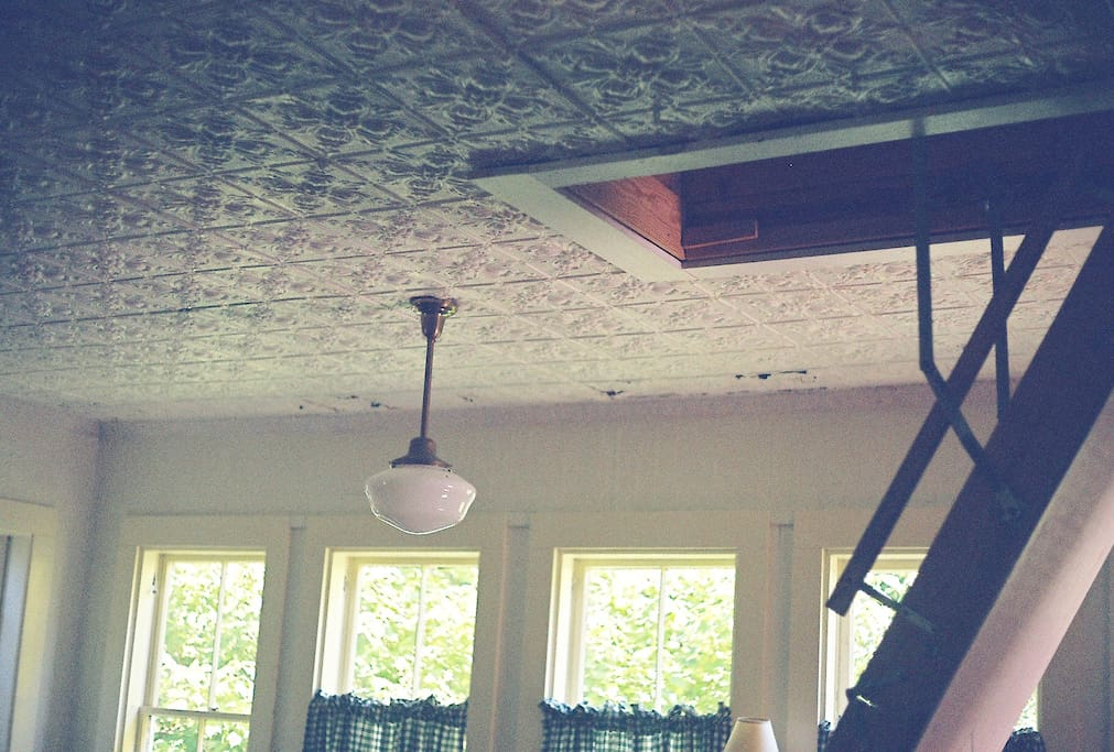 Original ceilings, lots of light, pull down ladder to upstairs bedroom