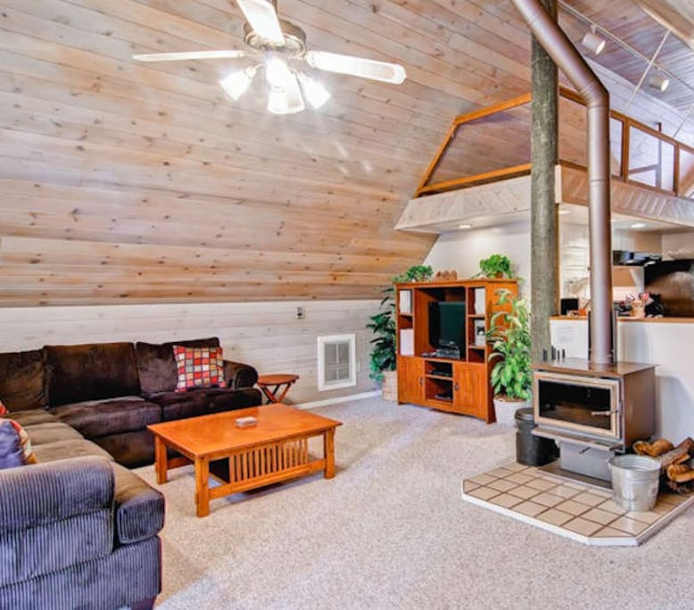 Living room, with wood burning stove fireplace, free firewood provided