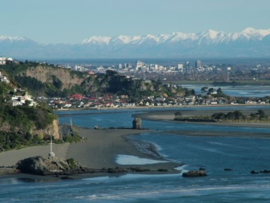 Sumner beach bottom of image - Monck Bay - Redcliffs behind and central city in distance