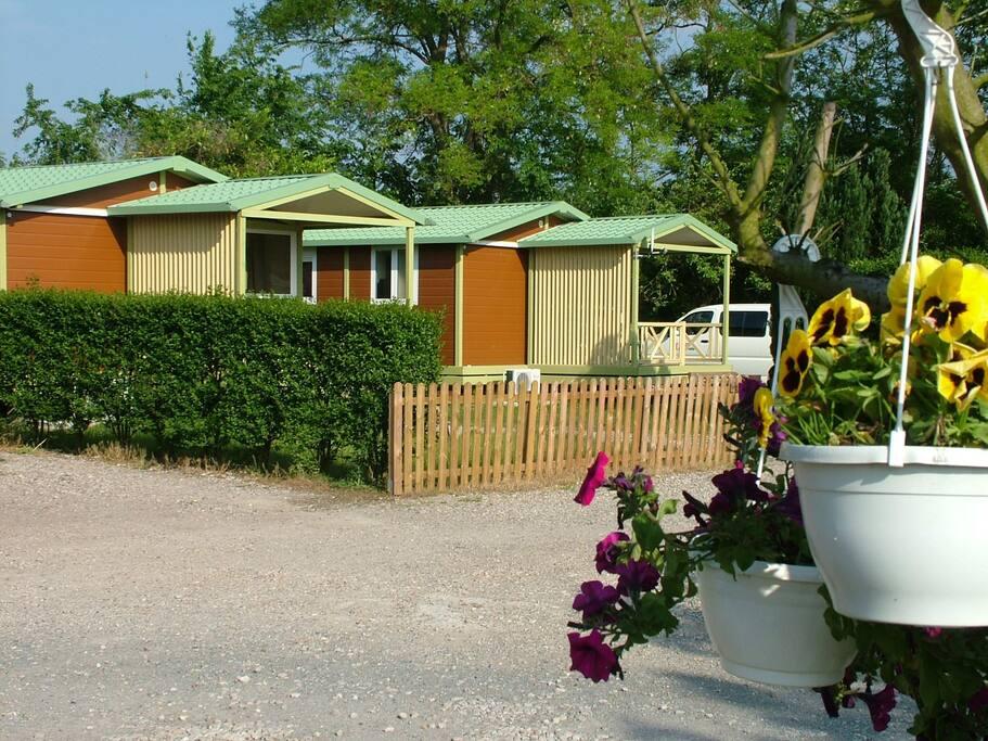 Chalet vert douillet 4 personnes bungalows louer for Piscine de bresles