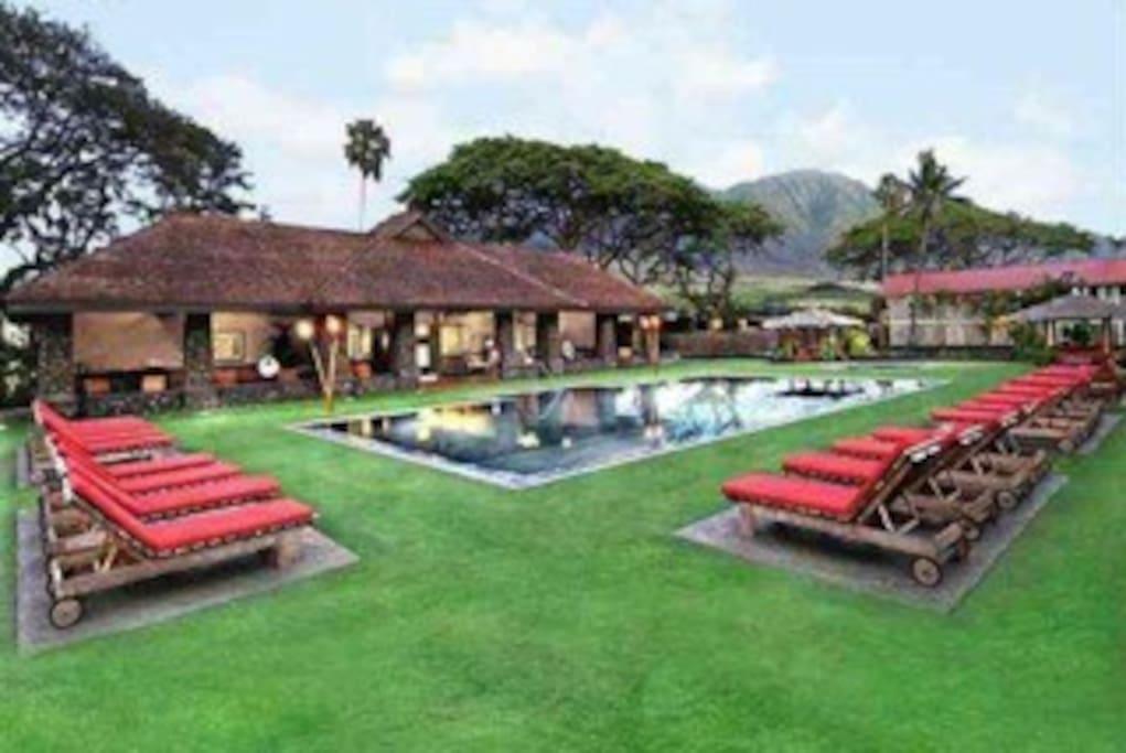 Luxurious pool-side pavillion