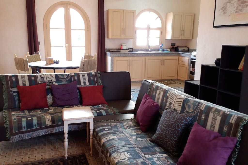 Open plan living, dining and kitchen area. Two sofa beds that open out for an extra 2 guests, so sleeps up to 6 people.